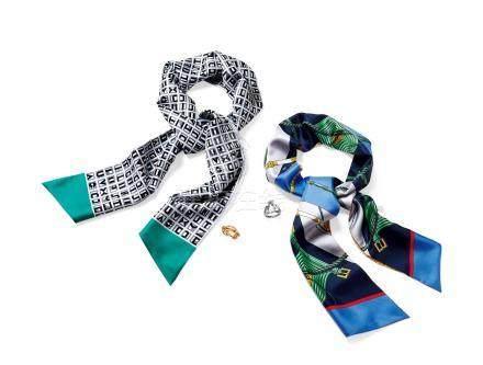 丝质MAXI TWILLY丝巾两条附丝巾扣