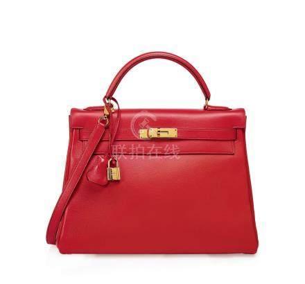 鲜红色GULLIVER牛皮32公分内缝凯莉包附金色金属配件