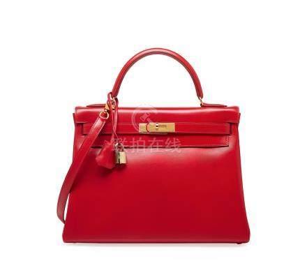 鲜红色BOX牛皮32公分内缝凯莉包附金色金属配件