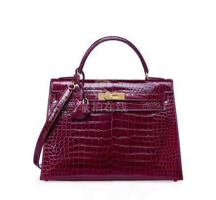 亮面波尔多红色POROSUS鳄鱼皮32公分外缝凯莉包附金色金属配件