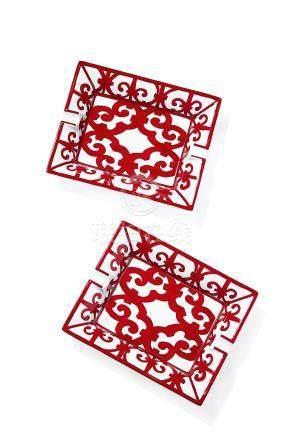 BALCON DU GUADALQUIVIR' 系列中国红瓷质烟灰缸一组两件