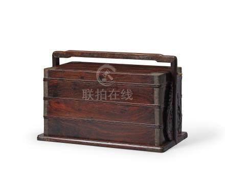 紫檀三撞提盒(明末清初)