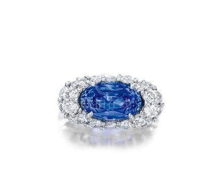 5.26克拉天然斯里蘭卡未經加熱藍寶石配鑽石戒指