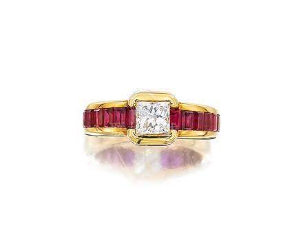 鑽石配紅寶石戒指, 尚美
