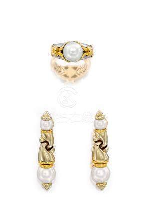 養殖珍珠「Passo Doppio」戒指; 及耳環套裝,寶格麗