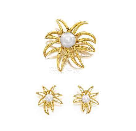 養殖珍珠胸針; 及耳環,蒂芙尼
