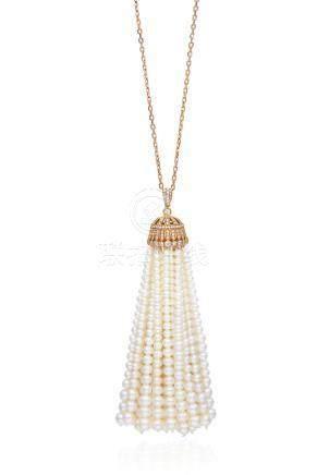 養殖珍珠配鑽石穗飾項鍊