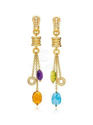 彩色寶石配鑽石「Allegra」吊耳環, 寶格麗
