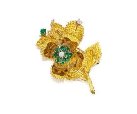 祖母綠配鑽石「花朵」胸針, 蒂芙尼