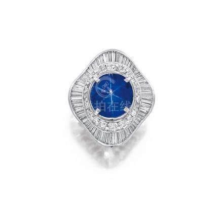 8.16克拉天然斯里蘭卡未經加熱星光藍寶石配鑽石戒指