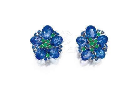 坦桑石配藍寶石及祖母綠耳環