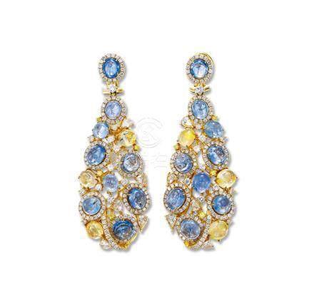 總重量約31.10克拉藍寶石配鑽石吊墜耳環