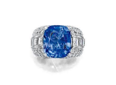 8.44克拉天然斯里蘭卡未經加熱藍寶石配鑽石戒指