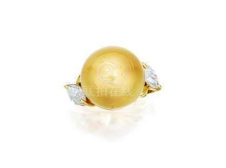 金黃色養殖珍珠配鑽石戒指