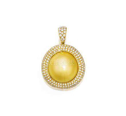 金黃色養殖珍珠配鑽石吊墜