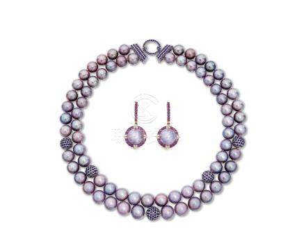 淡水珍珠配鑽石項鍊; 及耳環套裝