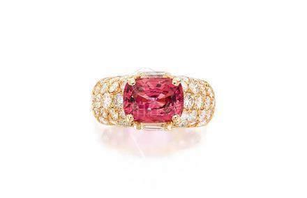 2.83克拉天然缅甸未經加熱尖晶石配鑽石戒指