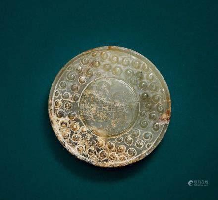 玉雕帶沁穀紋劍首(西漢)