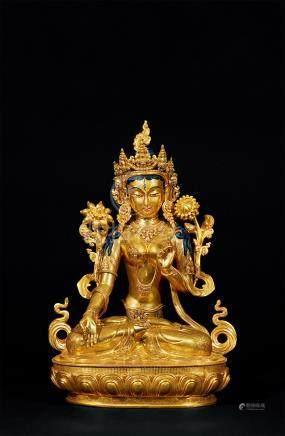 铜鎏金白度母坐像