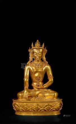 铜鎏金阿閦佛坐像