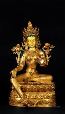 铜鎏金绿度母坐像