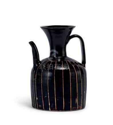 黑釉筋紋執壺(北宋至金)