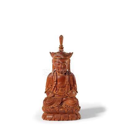 白檀香木雕地藏菩萨
