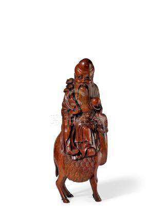 竹雕寿星骑鹿
