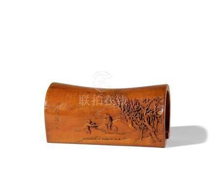 黄杨木雕高士人物纹枕