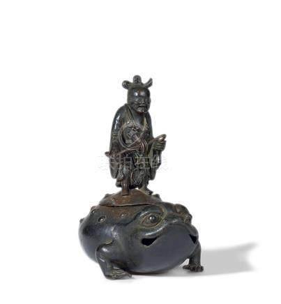 铜刘海戏蟾香炉