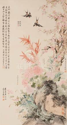 Pu Tong (1877-1952), Mei Lanfang (1894-1961), Han Shenxian (1897-1962), Cheng Yanqiu (1904-1958) ET AL. Flowers and Swallows