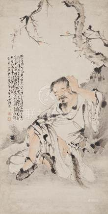 Su Liupeng (1796-1862)  Monk Resting Against Rock