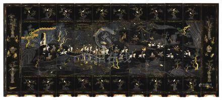 清康熙   嵌螺鈿皇家狩獵圖十二扇圍屏