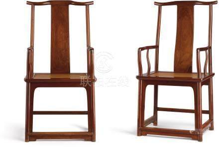 明末十六世紀末至十七世紀初   黃花梨高靠背官帽椅一對