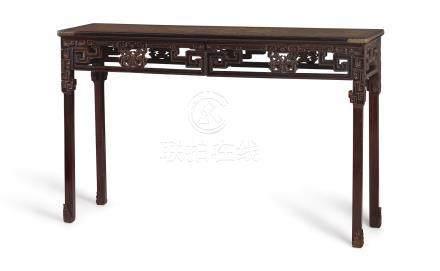 清乾隆   紫檀鳳柺子卡子花萬字面條桌
