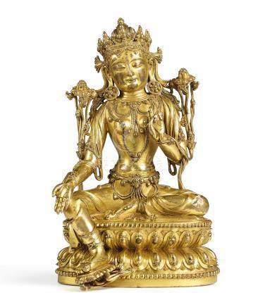 明永樂   鎏金銅綠度母坐像《大明永樂年施》款