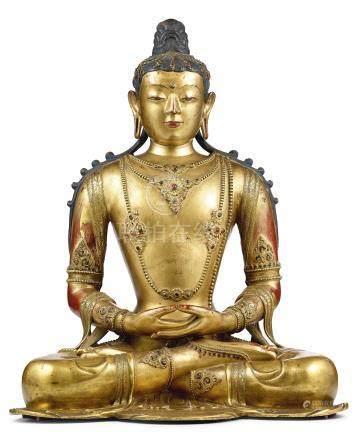 清康熙     藏漢鎏金銅無量壽佛坐像