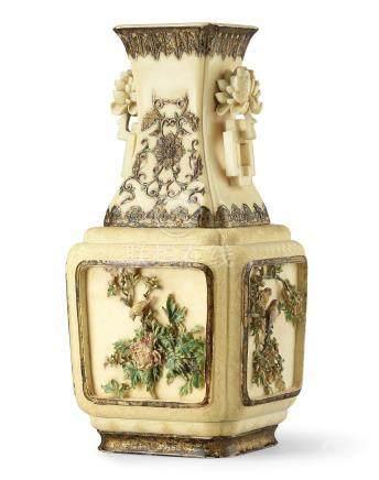 清乾隆   染色象牙浮雕描金開光式花鳥圖方瓶