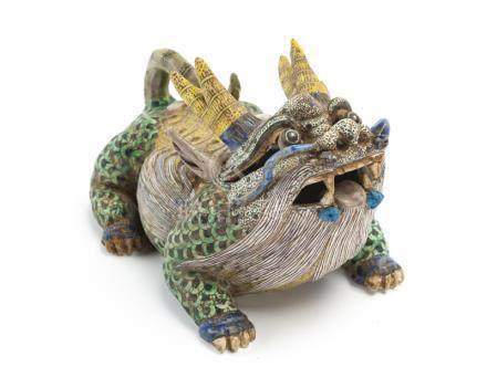 A Chinese glazed ceramic Qilin