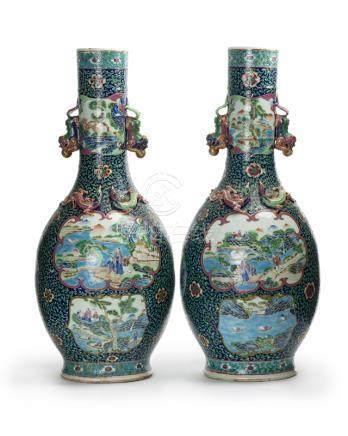 A pair of Chinese famille verte bottle vases