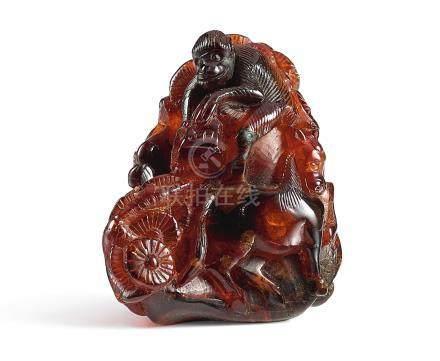 清十八世紀   琥珀雕封侯掛印
