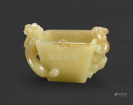 清十八世紀   黃玉雙龍斗式洗