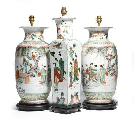 A pair of Chinese porcelain famille verte vases, converted into table lamps, painted with ladies