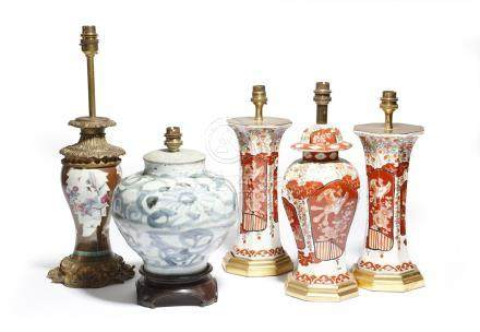 A Chinese porcelain famille rose vase, converted into a table lamp, with a brown glaze, painted with