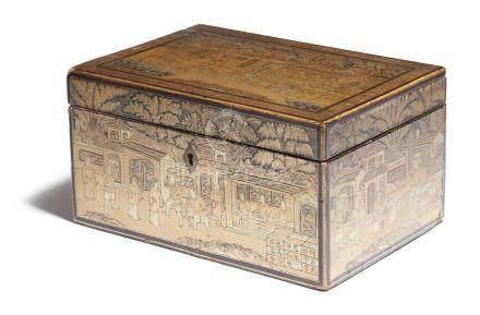 λ A 19th century Chinese export lacquer tea chest, decorated in gilt with buildings and figures in