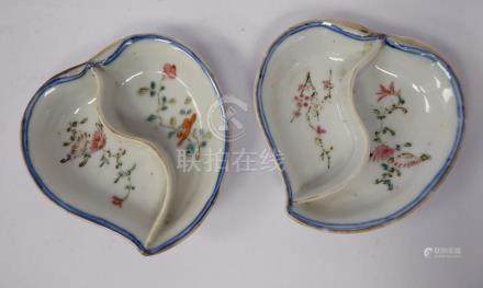 A pair of Chinese Republic period porcelain, divided leaf shaped dishes,