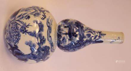 A late 19thC Chinese porcelain double gourd shaped vase,