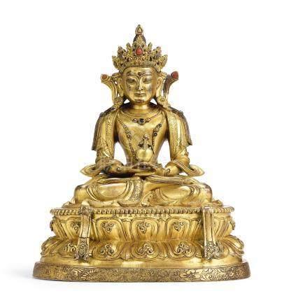 清康熙   鎏金銅嵌寶無量壽佛坐像《大清康熙十年十月五日初誠》仿款