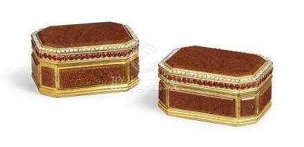 清乾隆   鍍金銅鑲金星玻璃八方蓋盒一對