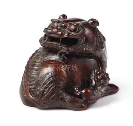 十七世紀   竹根雕太獅少獅鎮紙